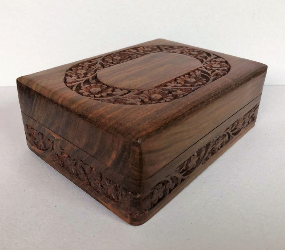 Carved Flower Wooden Jewelley Box with Smooth Finish 17.5 cm